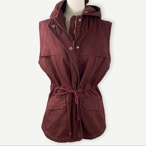 LAJU Los Angeles Sz M Hooded Vest Jacket Burgandy